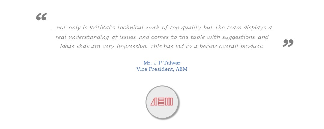 AEM recommends KritiKal for outstanding Technology Work
