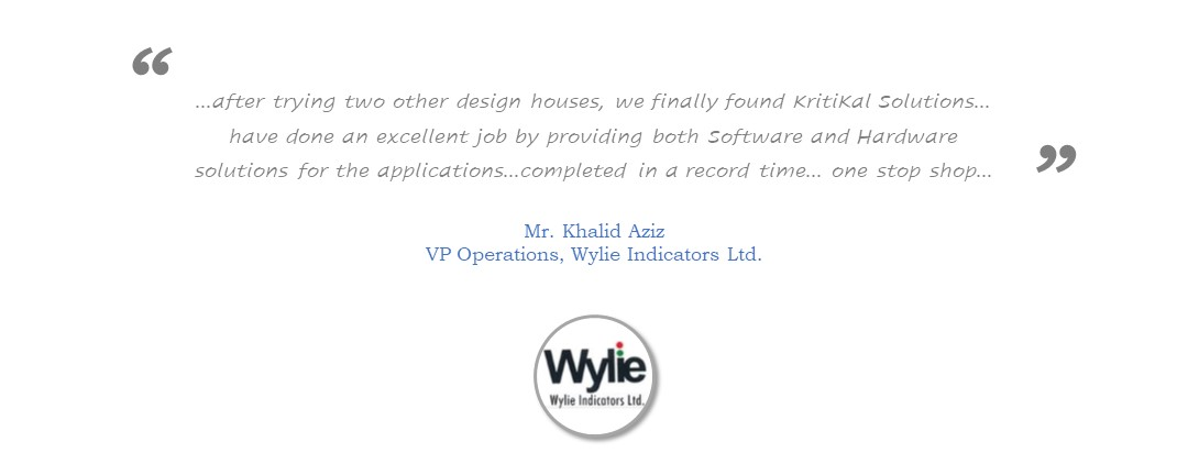 Wylie Semiconductors recommends KritiKal for outstanding Technology Work
